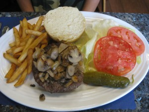 mushroom burger at bruces