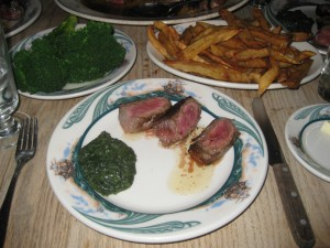 peter luger creamed spinach, broccoli, and fries