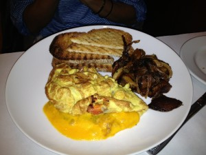 vegetable omelette at Jean Marie American Bistro