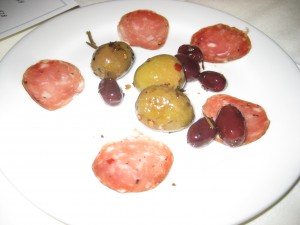 olives and meat