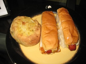 hot dogs and a knish
